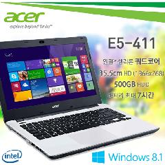 ACER 35.5cm ��Ʈ�� Aspire E5-411 [Intel  Celeron N2930 / 2GB / 500GB / Intel HD Graphics / Windows8.1 / �ִ�7�ð� ���͸� ���� / 2.3kg]